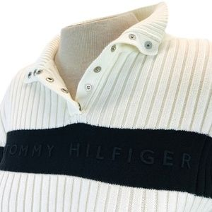 Tommy Hilfiger Black Ivory Ribbed Sweater Top L